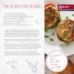 This delicious twist on the classic burger from NEFF features Tuna and Red Onion burgers instead of beef. #burgers #recipe #tuna