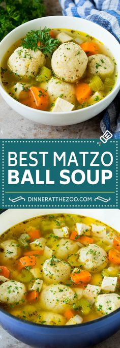 This matzo ball soup is chicken and vegetables simmered with matzo balls in a savory broth with fresh herbs.