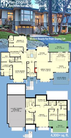 4,300 sq. ft. living, 2-story Modern Plan 23556JD for front-sloping lot | 4 bed/ den, 3.5 bath, 4-car attached tandem garage, covered outdoor living areas