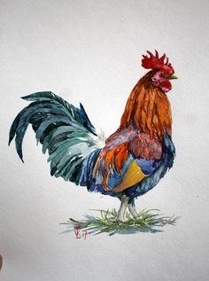 Decoración de cocina de gallo verde rojo gallo acuarela