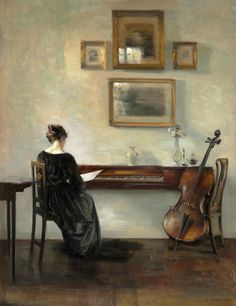 Old Paint (allegroassai: Practise, Carl Vilhelm Holsøe,.) Cello in art. Art And Illustration, Arte Cello, Molduras Vintage, Inspiration Art, Classical Art, Aesthetic Art, Beautiful Paintings, Female Art, Art History