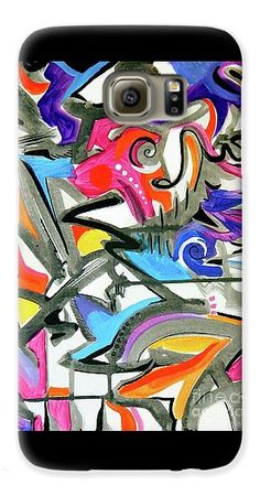 Vibrant Colors F.this Feels Like Music To Me .high Energy Jazz Maybe .pastels And Bright Colors Mix With Gray And Black Accents Galaxy S6 Case featuring the painting A Better Mousetrap by Expressionistartstudio Priscilla-Batzell