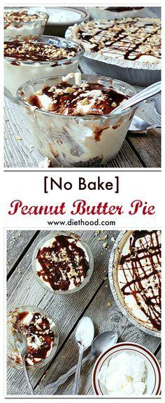 No Bake Peanut Butter Pie | www.diethood.com