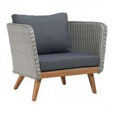 Mid Century Grey Wicker Weave & Cushion Patio Arm Chair