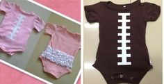 Football Onesies With OR Without Bootie Ruffles! I couldn't stand it @Kristen Gray I ordered a pink one for Rosie.