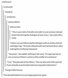 Story writing dialogue grammar tumblr
