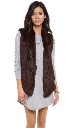 June Knit Fur Vest Oxblood Fur!