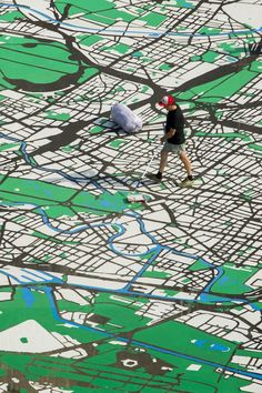 map installation in Berlin - 2,500-meter map (scale of 1:775 ) of 18-century Berlin  installed on Museum Island in 2012 to commemorate the 775th anniversary of the city's founding #maps #art