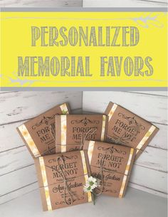 Funeral Favor Seed Packets Personalized by GetHappyCreations Forget Me Not Seeds, Funeral Memorial, Memorial