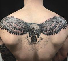 """80 Likes, 2 Comments - Oksana Weber Tattoo Artist (@oksanaweber) on Instagram: """"Let that eagle spread the wings! Eagle back tattoo  #tattoo #esgletattoo"""""""