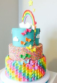Awesome Image of Rainbow Birthday Cakes . Rainbow Birthday Cakes Rainbow Cake Back Of My Little Pony Rainbow Dash Cake The Little Girl Birthday Cakes, Cool Birthday Cakes, Little Girl Cakes, Trolls Cake Birthday, Unicorn Birthday, Cool Birthday Ideas, Happy Birthday, Birthday Cake Designs, Jojo Siwa Birthday Cake
