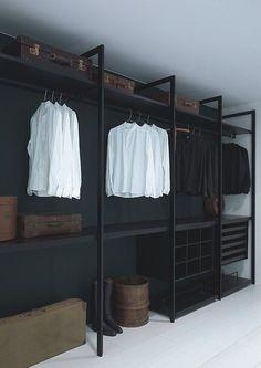 - Wardrobe Organization - Faire un dressing pas cher soi-même facilement A cheap dressing room in black painted wood. Closet Walk-in, Black Closet, Closet Bedroom, Closet Storage, Closet Ideas, Master Closet, Black Wardrobe, Closet Space, Wardrobe Ideas