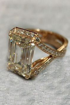 e2a56aaaa94a 5.25 Ct Near White Emerald Cut Moissanite Valentine Ring 10K Yellow Gold