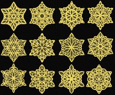 Gold Snowflakes 12 Machine Embroidery Designs set 4x4