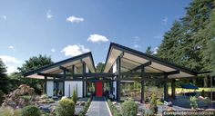 Bungalow-style house by Huf Haus Prefabricated Houses, Prefab Homes, Eco Architecture, Architecture Details, Bungalows, Prefab Shipping Container Homes, Shipping Containers, Steel Frame House, Timber Frame Homes