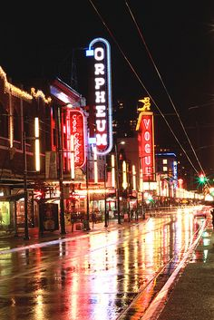 Granville Street at night, Vancouver, Canada
