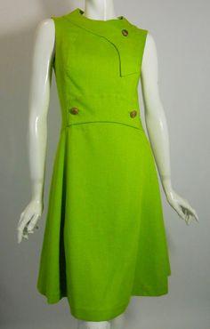 Vintage Grass Green A-Line Mod Dress 1960s