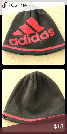 🦋adidas beanie🦋o/s 🌟 Adidas light grey/neon pink lettering.  No frills athletic beanie.  It's 100% acrylic, fully lined, one size fits all.  I bought it in the Woman's department at a local sporting goods store for myself and let my daughter take it to a weekend camp.  I doubt she wore it but it was in a bag with some other gloves and things.  I'd classify it as great used condition although I don't know that it was used-it traveled😉says climawarm on the side too.  🌟SAVE 15% by bundling…
