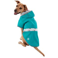 Let your pup take rainy days be storm with the water-resistant Good2Go Reversible Dog Raincoat in Blue. Reflective details trim this water-resistant jacket for your dog's safety