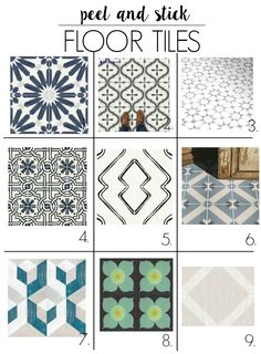 peel and stick bathroom tile for the floor. These will work in the bathroom kitchen laundry room living room or a bedroom. They will stick over linoleum concrete or ceramic. I show you how to DIY thes with some ideas for cute pattern options! Linoleum Flooring, Vinyl Flooring, Kitchen Flooring, Flooring Ideas, Floors, Garage Flooring, Kitchen Backsplash, Peel And Stick Floor, Bathroom Floor Tiles