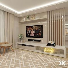 The image contains may be: living room, table, and interiorcontains Living Room Tv Unit Designs, Wall Unit Designs, Tv Cabinet Design, Tv Wall Design, Tv Unit Furniture, Furniture Design, Painel Tv Sala Grande, Lcd Panel Design, Tv Wanddekor
