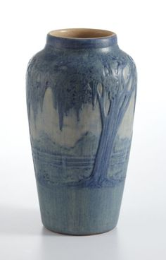 """NEWCOMB COLLEGE   A """"Moss and Moon"""" Matte-Glazed Pottery Vase, potted by Joseph Meyer, decorated by Anna Frances Simpson, 1918"""
