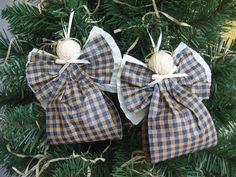 Angel Christmas Ornaments Blue and Kraft Plaid Paper Ribbon Angel Tree Ornaments…