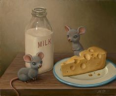 """Marion Peck - """"Mice with Dairy Products"""" Oil on canvas 2007 Cute Illustration, Digital Illustration, Jim Warren, Marion Peck, Mark Ryden, Ppr, Lowbrow Art, Animal Coloring Pages, Pop Surrealism"""