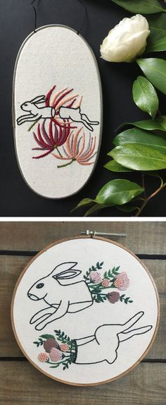Tusk and Cardinal hoop art // embroidery // rabbit embroidery // floral hoop art