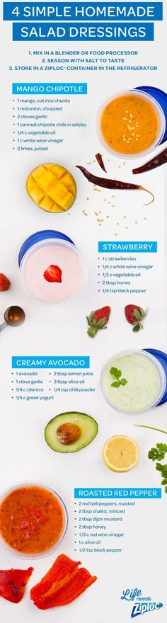 For homemade taste to go, store these simple salad dressing recipes in a Ziploc®️️ Twist 'n Loc®️️ container. Make it easy to bring healthy lunches all week long with these zesty fruit flavors: mango chipotle, strawberry, creamy avocado and roasted red pepper. Or serve as a dip for vegetables.