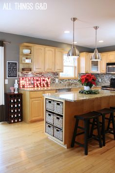 A playful, colorful, handmade holiday kitchen by All Things G&D #allthingsgd