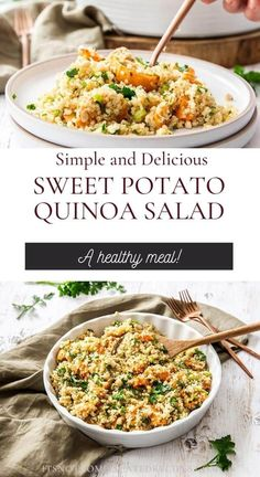 Learn how to make this delicious Sweet Potato Quinoa Salad. This gluten-free and vegan salad is flavoursome and so easy to prepare. Ideal lunch or side dish. Head to the blog to get more details and the recipe. Sweet Potato Quinoa Salad #quinoasalad #quinoarecipes #glutenfreesalad #sweetpotatorecipes #saladrecipes #easyrecipes #appetizerrecipes #itsnotcomplicatedrecipes #cravecookconsume itsnotcomplicatedrecipes.com Clean Eating Recipes, Lunch Recipes, Appetizer Recipes, Whole Food Recipes, Salad Recipes, Cooking Recipes, Healthy Recipes, Savoury Recipes, Sweet Potato Quinoa Salad
