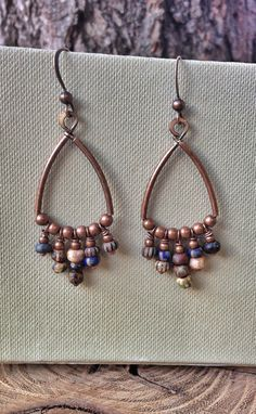Copper Hoop Earrings / Bohemian Earrings / Boho Copper Jewelry / E156