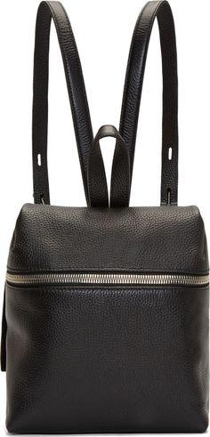 Kara Black Pebbled Leather Small Backpack