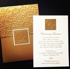 Antique Gold wedding invite