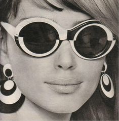 1960's Op Art Subglasses &  Earrings. Op art, also known as optical art, is…
