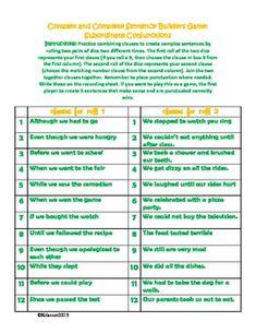 Sentence Builders Activity: compound and complex sentences using dice Grammar Help, Grammar And Punctuation, Teaching Grammar, Teaching Writing, Grammar School, Types Of Sentences, Complex Sentences, Sentence Types, Writing Sentences
