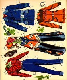 Cowboy Outfits, Western Outfits, Western Shirts, Paper Dolls Book, Vintage Paper Dolls, Vintage Sewing, Different Art Styles, West Art, Popular Outfits