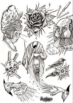 scott move - flash designs - tattoos - use of line - influential - creepy - wizard.