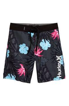 NEW Hurley black pink stripe board shorts boys swim trunk swimsuit sz 2T 3T 4T