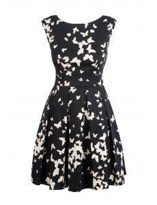 Closet Black And White Butterfly V-Back Dress