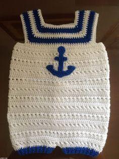 peto marinero para bebe en crochet con tutorial y patron