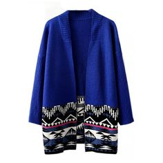 Long Sleeve Tribal Geometric Jacquard Longline Cardigan ($37) ❤ liked on Polyvore featuring tops, cardigans, outerwear, beautifulhalo, bhalo, sweaters, geometric tops, tribal print top, blue cardigan and long sleeve tops
