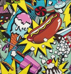 Alexander Henry Midnight Snack Retro Fabric. $9.50.....Another hot seller! Hamburgers, hot dogs, popcorn, cherries, shakes and tons more in an uber-colorful collage. This pop-art food festival will make you hungry for sewing! Get while it's still in stock!!