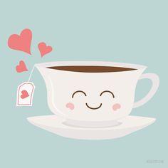 'Happy Tea' Art Board Print by Caroline Moore Eid Stickers, Cute Stickers, Cute Wallpaper Backgrounds, Cute Wallpapers, Kawaii Wallpaper, Thinking Of You Quotes Sympathy, Tea Puns, Simple Card Designs, Happy Tea