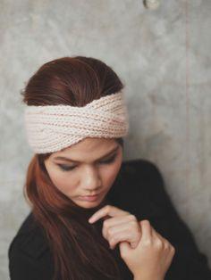 Knit Turban Headband - Old Pale Peach 100% wool yarn