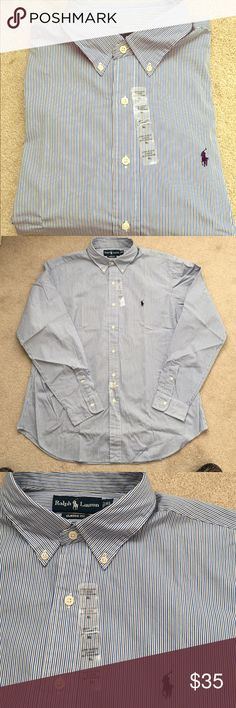 NWT Ralph Lauren classic fit striped shirt NWT  Men's Ralph Lauren classic fit striped dress shirt.  White, blue and black stripes.  Still has the extra buttons attached to it. Ralph Lauren Shirts Dress Shirts