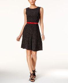 Tommy Hilfiger Polka Dot Belted Fit & Flare Dress