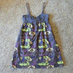 """Free People Dress Purple floral design cotton dress with adjusting straps has wrap around waist tie can tie in front or back is lined 33""""long runs smaller Free People Dresses Midi"""
