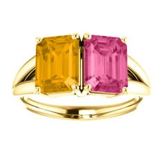 14kt yellow gold pink tourmaline and citrine split shank ring. Find it at a jeweler near you: www.stuller.com/locateajeweler #citrine #november #birthstone